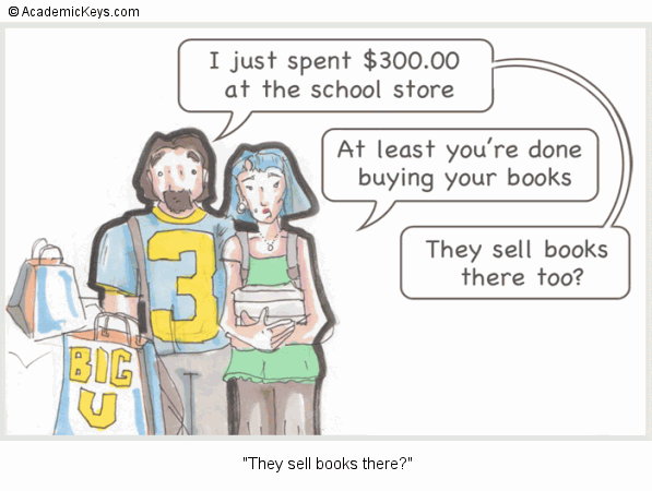 Cartoon #72, They sell books there?
